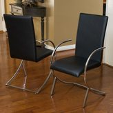 Christopher Knight Home Lydia Black Leather/ Chrome Chairs (Set of 2)