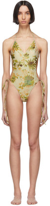 Charlotte Knowles Green Floral Perse One-Piece Swimsuit