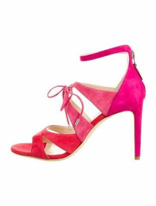 Chloe Gosselin Suede Colorblock Pattern Sandals Pink