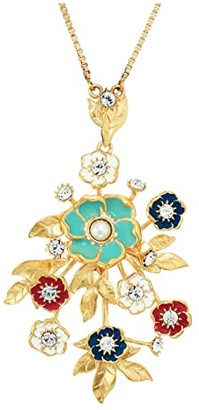 Sole Society SOLE / SOCIETY 30 Bouquet Necklace (12K Soft Polish Gold/Ivory/Crystal/Multicolor) Necklace