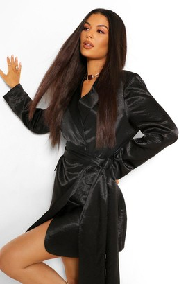 boohoo Hammered Satin Draped Belted Blazer Dress