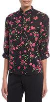 Alice + Olivia Eloise Floral-Print Button-Front Mandarin Collar Blouse