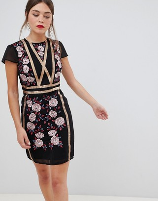 Frock and Frill short sleeve dress with embroidered panel-Black