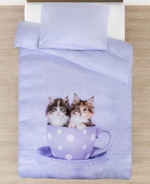 Tadpoles Teakup Kitties Comforter with Removable Cover Toddler Size 3 Piece Bedding Set Bedding