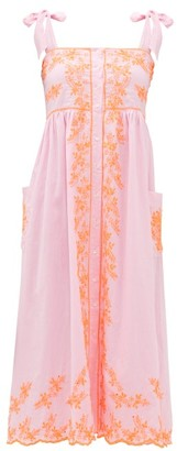 Juliet Dunn Tied-shoulder Mirror-embroidered Cotton Midi Dress - Womens - Pink Multi