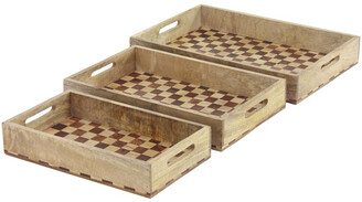 Uma Enterprises Set Of Three Traditional Wooden Trays