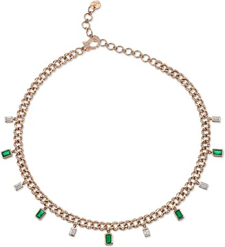 Shay Diamond & Emerald Baguette Link Choker Necklace