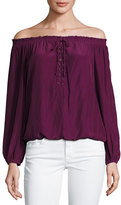 Ramy Brook Jill Off-the-Shoulder Lace-Up Blouse, Sangria