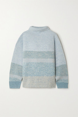 Le Kasha Kinsale Striped Cashmere Turtleneck Sweater - Light green