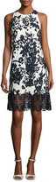Carmen Marc Valvo Sleeveless Floral Jacquard Cocktail Dress, White/Black