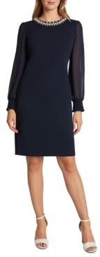 Tahari ASL Beaded Sheer-Sleeve Sheath Dress