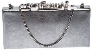 Jimmy Choo Metallic Silver Leather Vintage Celeste Clutch