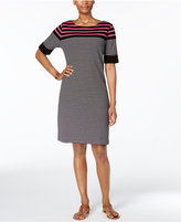 Karen Scott Petite Cotton Striped T-Shirt Dress, Created for Macy's