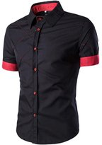Biia Sim Fit Dress Shirt Short Seeve Casua Shirts (, Bue)