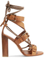 Etro Rope-trimmed Leather Sandals - Tan