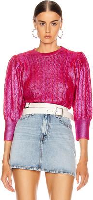 MSGM Metallic Cable Knit Sweater in Fuchsia & Red   FWRD