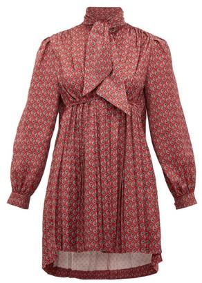 Balenciaga Pleated High-neck Paisley-print Satin Mini Dress - Burgundy Print