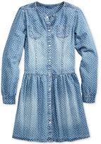 GUESS Geo-Print Long-Sleeve Denim Dress, Big Girls (7-16)