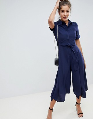 ASOS DESIGN shirt jumpsuit with hanky hem and belt detail