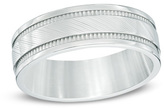 Zales Men's 8.0mm Milgrain Comfort Fit Wedding Band in Stainless Steel - Size 10