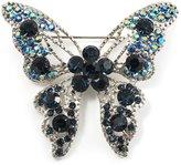 Avalaya Dazzling Navy Blue Swarovski Crystal Butterfly Brooch (Silver Tone)