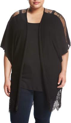 Zero Degrees Celsius Lace-Inset Dolman-Sleeve Cardigan, Black, Plus Size