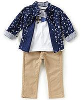 Nautica Baby Boys 12-24 Months Nautical-Printed Woven Shirt, Jersey Tee & Twill Pant Set