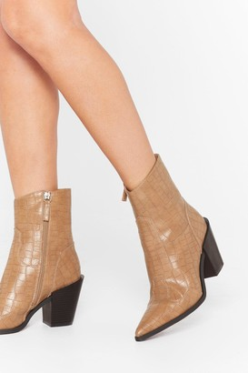 Nasty Gal Womens Skip to the West Part Faux Leather Croc Boots - Beige - 3