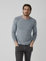 Frank + Oak Roll-Edge Cotton-Linen Crewneck Sweater in Mixed Indigo