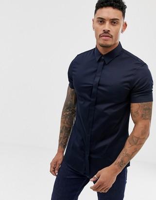 Armani Exchange slim fit poplin short sleeve shirt in navy