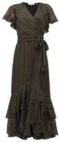 Diane von Furstenberg Donnie Metallic Silk Blend-georgette Midi Dress - Womens - Black Gold