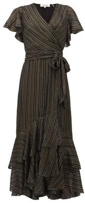 Diane von Furstenberg Donnie Metallic Silk Blend-georgette Midi Dress - Black Gold