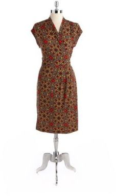 Anne Klein Stained Glass Short-Sleeved Wrap Dress