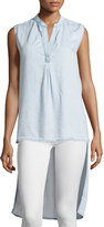 Cirana Washed Denim Sleeveless Blouse, Chambray