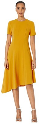Donna Morgan Short Sleeve Asymmetric Hem Fit and Flare Crepe Dress (Butternut) Women's Dress