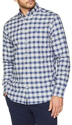 Gant Men's Heather Oxford Plaid REG BD Casual Shirt, Persian Blue, Large (Size: L)