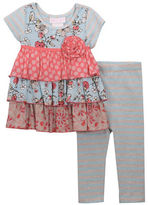 Iris & Ivy Baby Girls Ruffled Floral Top and Leggings Set