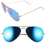 Ray-Ban Men's Original Aviator 58Mm Sunglasses - Matte Gold/ Blue Mirror