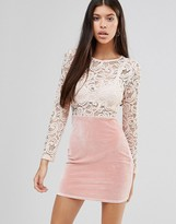 Boohoo Lace Top Dress With Velvet Skirt