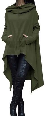 DEELIN Womens Sale High Collar Long Sleeve Casual Irregular Hoodie Hooded Sweatshirt Ladies Winter Coats Long Pullover Blouse Tops(Blue UK-8 CN-S)