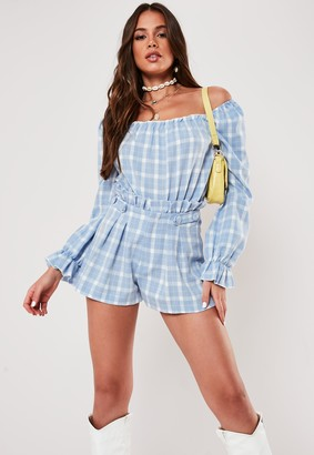 Missguided Blue Co Ord Check Frill Detail Bodysuit