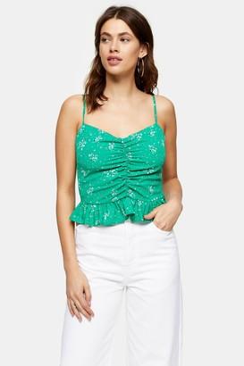 Topshop Womens Green Floral Print Peplum Cami - Green