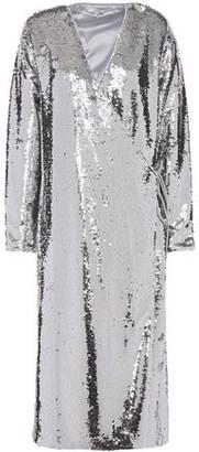 Ganni Sonora Sequined Tulle Midi Wrap Dress