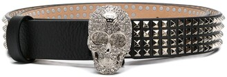 Philipp Plein Embellished Skull Studded Belt