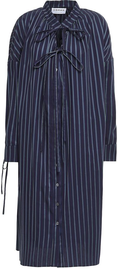 Osman Bow-detailed Striped Cotton-poplin Midi Dress