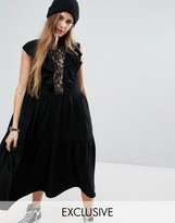 Reclaimed Vintage Midi Dress With Ruffles And Lace Insert