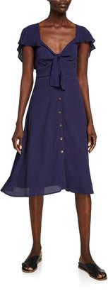 Astr Rachelle Flutter-Sleeve Button Down Dress