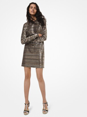 Michael Kors Collection Chevron Sequined Silk-Georgette T-Shirt Dress