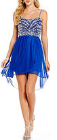 B. Darlin Beaded Wrap Bodice High-Low A-line Dress