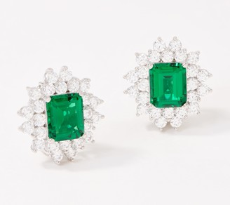 Diamonique TOVA Simulated Emerald Earrings, Sterling Silver